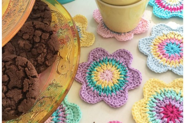 Happy Flower Crochet Coasters